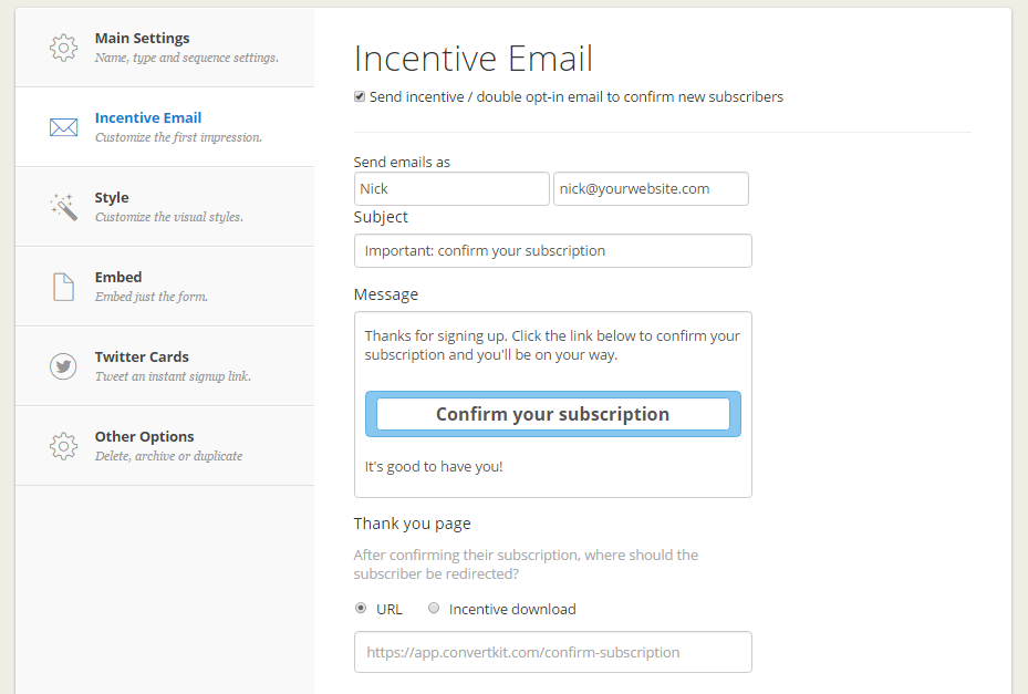 convertkit-incentive-email-settings