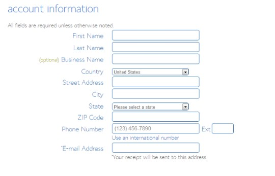 account-information bluehost sign up