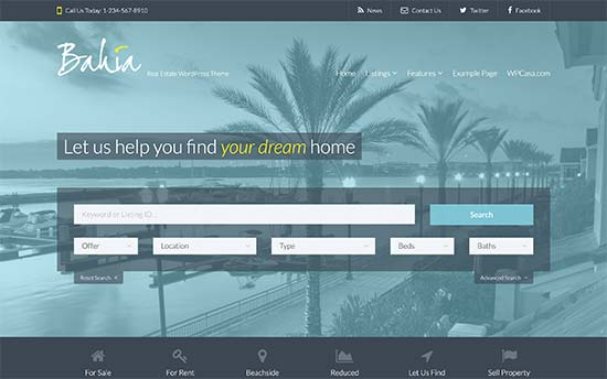 bahia wordpress theme realtors